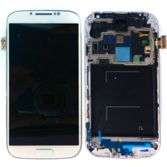 For Samsung Galaxy S4 SIV GT I9500 LCD Display Touch Screen Digitizer Panel Glass Frame Assembly White