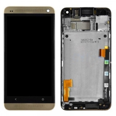 For HTC One M7 801E 801S LCD Display Touch Screen Digitizer Panel Glass Frame Assembly Gold