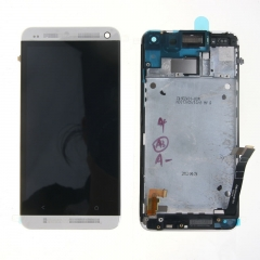For HTC One M7 801E 801S LCD Display Touch Screen Digitizer Panel Glass Frame Assembly White