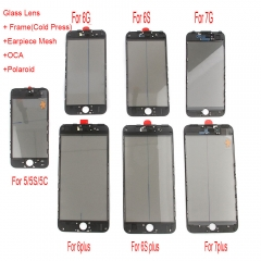 For iPhone 5S 6 6S 7 Plus Front Outer Glass Lens + Frame Bezel + OCA Polarizer