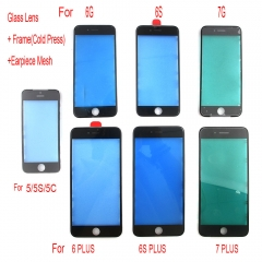 For iPhone 5S 6 6S 7 Plus Front Outer Glass Lens W/ Cold Press Frame Bezel + Earpiece Dust Mesh