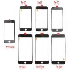For iPhone 5S 6 6S 7 Plus Front Outer Glass Lens Screen + Frame Bezel + OCA + Earpiece Mest
