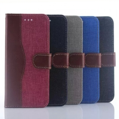 For HTC One M9 Denim Skin Cover Card Holder Case