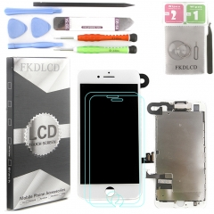 Full Assembly LCD Display Screen Touch Digitizer With Front Camera Ear Speaker Light Sensor +Repair Tools +Protector For iPhone 7 4.7 White